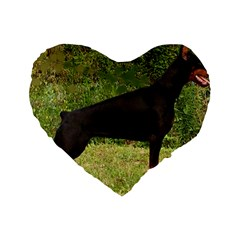 Doberman Pinscher Black Full Standard 16  Premium Flano Heart Shape Cushions