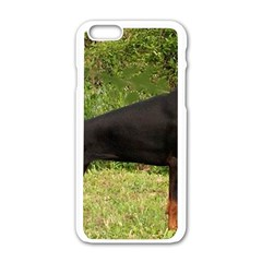 Doberman Pinscher Black Full Apple iPhone 6/6S White Enamel Case
