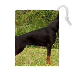 Doberman Pinscher Black Full Drawstring Pouches (Extra Large)