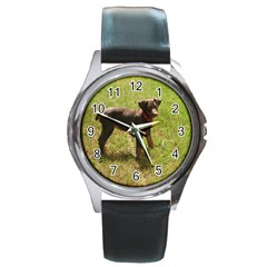 Red Doberman Puppy Round Metal Watch