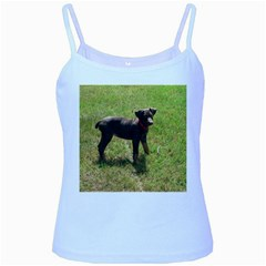 Red Doberman Puppy Baby Blue Spaghetti Tank