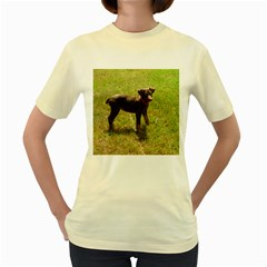 Red Doberman Puppy Women s Yellow T-Shirt