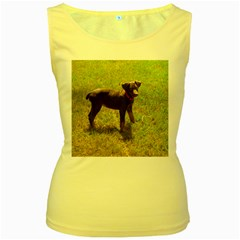Red Doberman Puppy Women s Yellow Tank Top