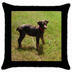Red Doberman Puppy Throw Pillow Case (Black)