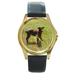 Red Doberman Puppy Round Gold Metal Watch