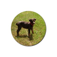 Red Doberman Puppy Rubber Coaster (Round)