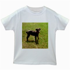 Red Doberman Puppy Kids White T-Shirts