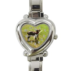 Red Doberman Puppy Heart Italian Charm Watch