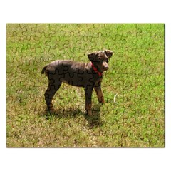 Red Doberman Puppy Rectangular Jigsaw Puzzl