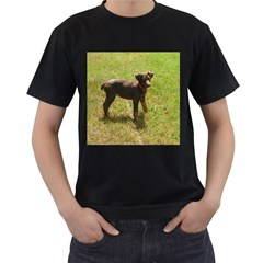 Red Doberman Puppy Men s T-Shirt (Black) (Two Sided)