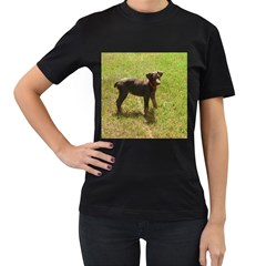 Red Doberman Puppy Women s T-Shirt (Black) (Two Sided)