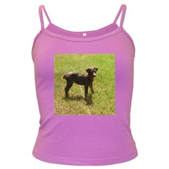Red Doberman Puppy Dark Spaghetti Tank