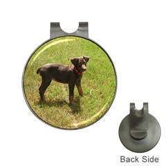 Red Doberman Puppy Hat Clips with Golf Markers