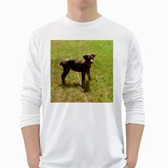 Red Doberman Puppy White Long Sleeve T-Shirts