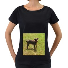 Red Doberman Puppy Women s Loose-Fit T-Shirt (Black)