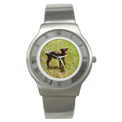 Red Doberman Puppy Stainless Steel Watch