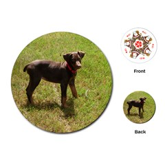 Red Doberman Puppy Playing Cards (Round)