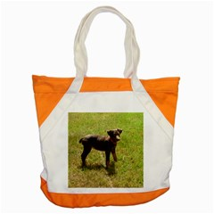Red Doberman Puppy Accent Tote Bag