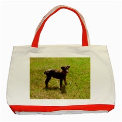 Red Doberman Puppy Classic Tote Bag (Red)