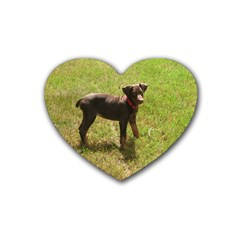 Red Doberman Puppy Rubber Coaster (Heart)