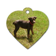 Red Doberman Puppy Dog Tag Heart (Two Sides)