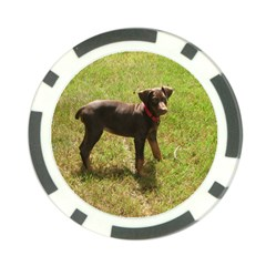 Red Doberman Puppy Poker Chip Card Guard