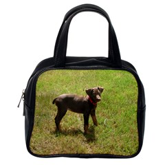 Red Doberman Puppy Classic Handbags (One Side)