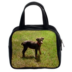 Red Doberman Puppy Classic Handbags (2 Sides)