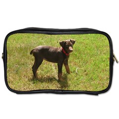 Red Doberman Puppy Toiletries Bags