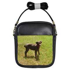Red Doberman Puppy Girls Sling Bags