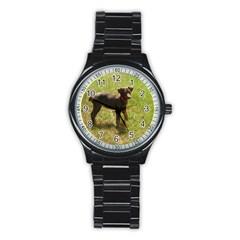 Red Doberman Puppy Stainless Steel Round Watch