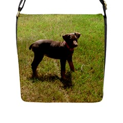 Red Doberman Puppy Flap Messenger Bag (L)