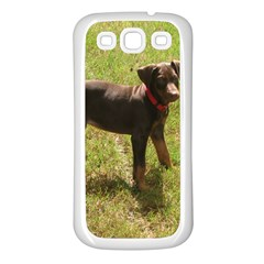 Red Doberman Puppy Samsung Galaxy S3 Back Case (White)