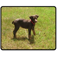Red Doberman Puppy Double Sided Fleece Blanket (Medium)