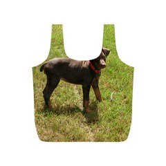 Red Doberman Puppy Full Print Recycle Bags (S)