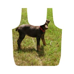Red Doberman Puppy Full Print Recycle Bags (M)