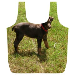 Red Doberman Puppy Full Print Recycle Bags (L)