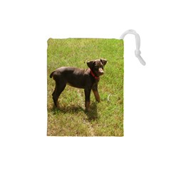 Red Doberman Puppy Drawstring Pouches (Small)