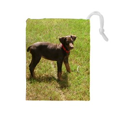 Red Doberman Puppy Drawstring Pouches (Large)
