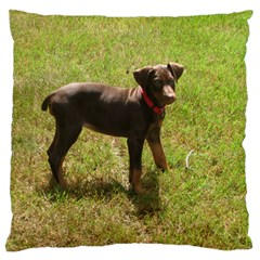 Red Doberman Puppy Large Flano Cushion Case (Two Sides)