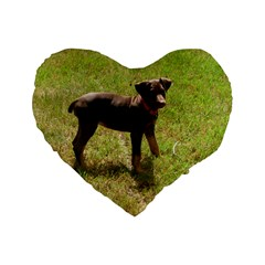 Red Doberman Puppy Standard 16  Premium Flano Heart Shape Cushions