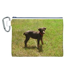 Red Doberman Puppy Canvas Cosmetic Bag (L)