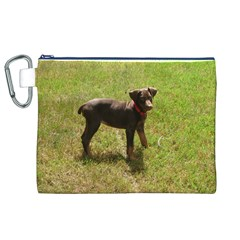Red Doberman Puppy Canvas Cosmetic Bag (XL)