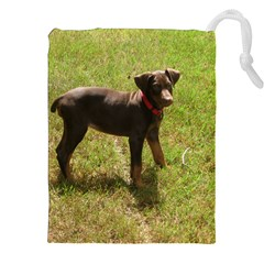 Red Doberman Puppy Drawstring Pouches (XXL)
