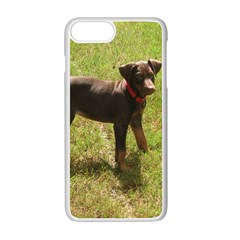 Red Doberman Puppy Apple iPhone 7 Plus White Seamless Case
