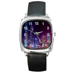 Raised Building Frame Square Metal Watch