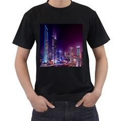 Raised Building Frame Men s T-Shirt (Black) (Two Sided)