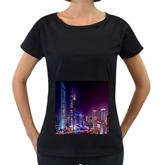 Raised Building Frame Women s Loose-Fit T-Shirt (Black)