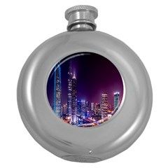 Raised Building Frame Round Hip Flask (5 oz)