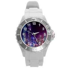 Raised Building Frame Round Plastic Sport Watch (l)
